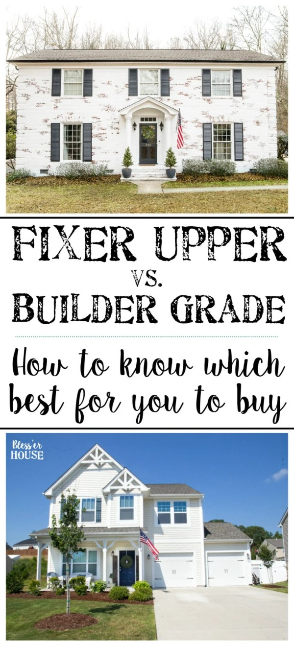 A full pros/cons list of owning a fixer upper versus owning a new builder grade house. #realestate #homeimprovement #moneymatters