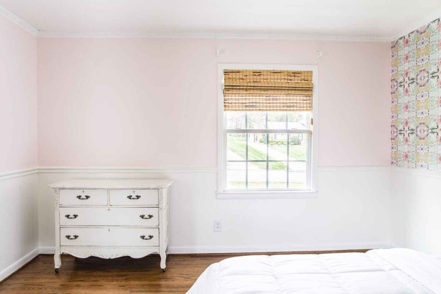 A sweet pastel little girl bedroom makeover with Behr My Sweetheart and retro wallpaper to transition into pre-teen/teenage years. #girlbedroom #kidsdecor #wallpaper #pinkpaint