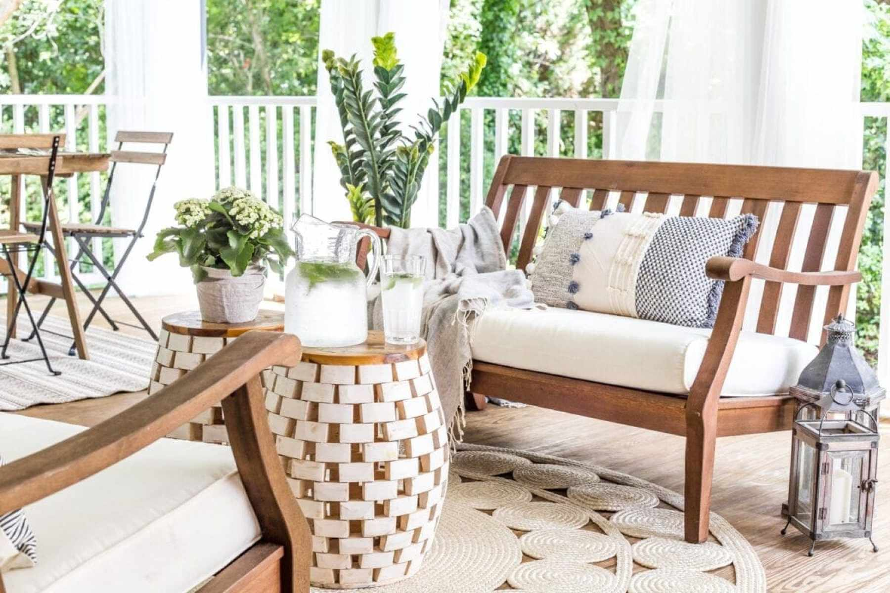 outdoor bench conversation set on back porch