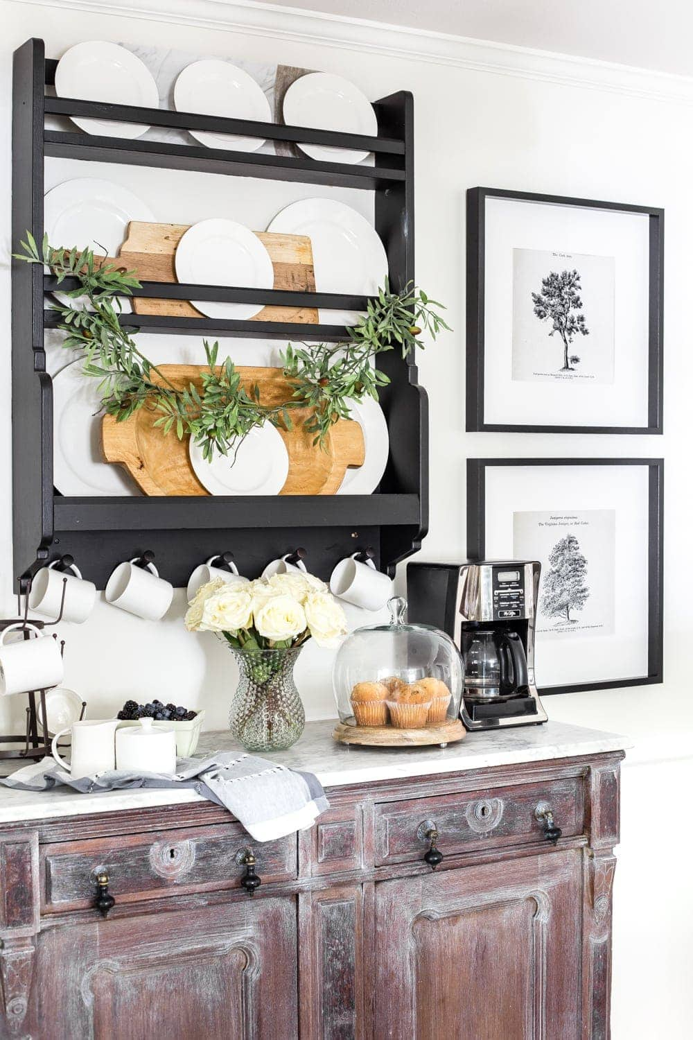 marble top coffee bar using a thrift store buffet and IKEA plate rack