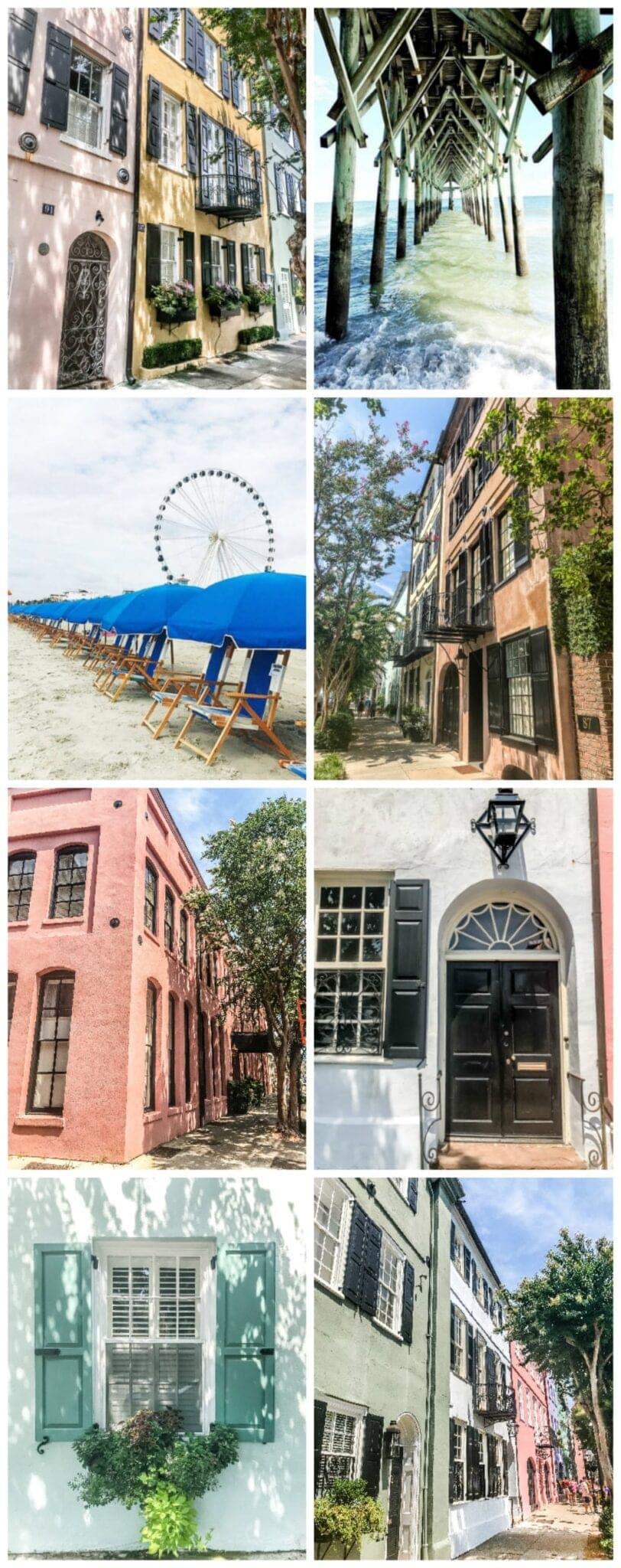 Free Carolina coastal art printable set featuring Rainbow Row in Charleston and the Myrtle Beach Boardwalk