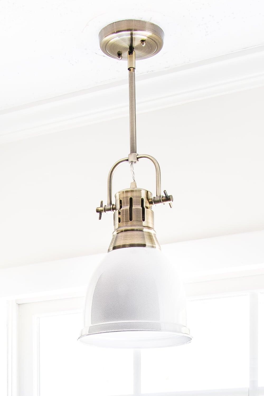 aged brass and white enamel kitchen pendant light