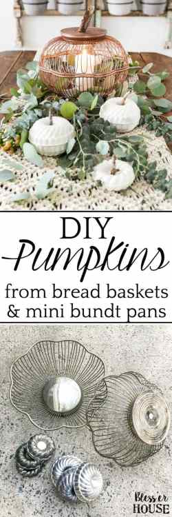 A step-by-step tutorial for making craft pumpkins for fall using thrifted vintage wire bread baskets and mini bundt pan Jello molds. #craftpumpkin #fallcraft
