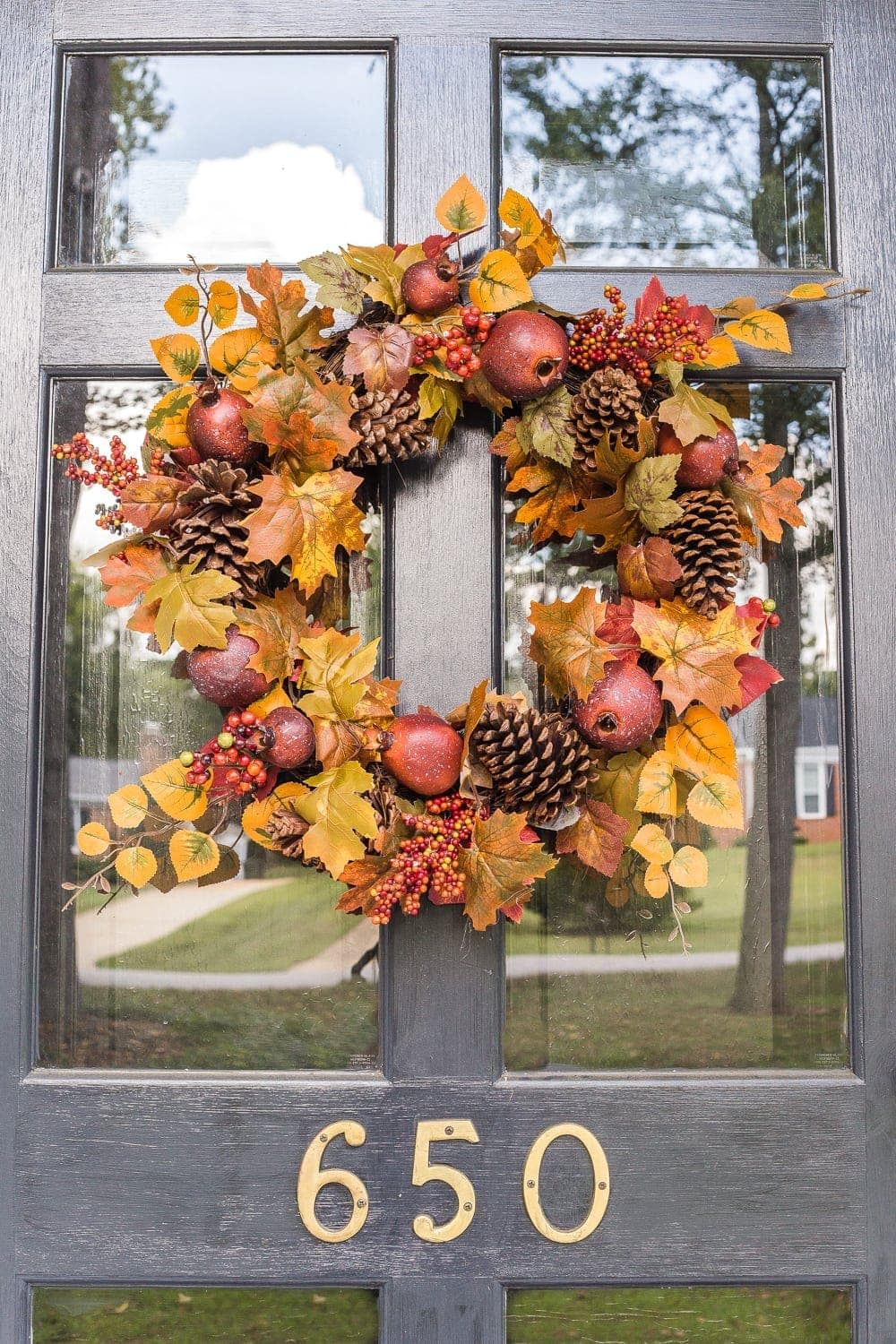 fall wreath with traditional colors in gold and rust
