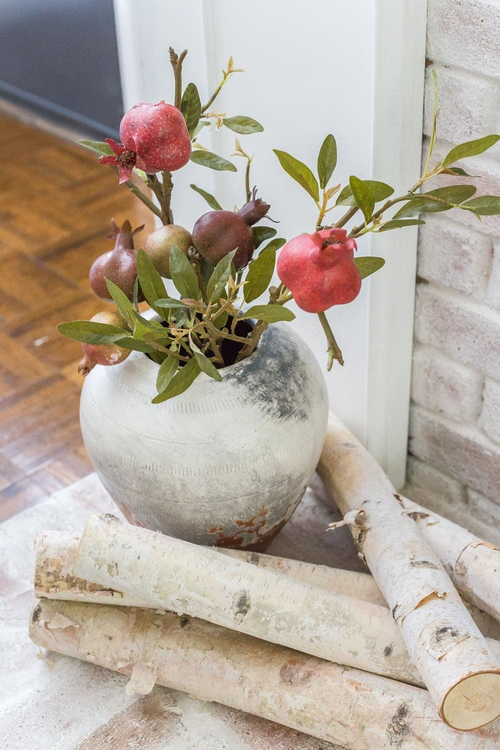 Add cut logs to your heart for added coziness for fall decor