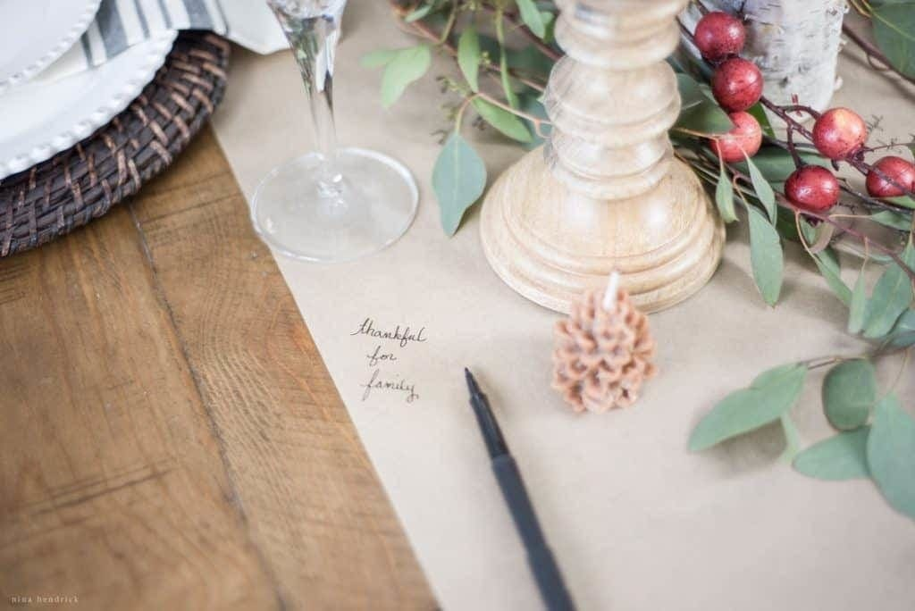 5 Ideas for Creative Thanksgiving Entertaining | Thankful Write-On Table Runner
