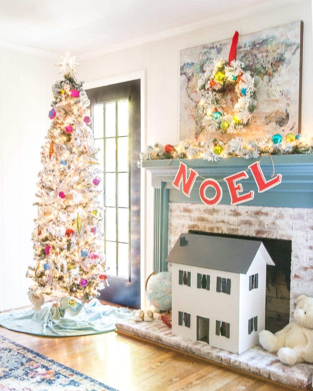 Playroom fireplace and Christmas tree