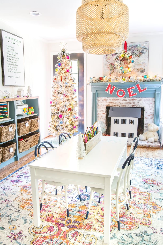 Bright and colorful Christmas playroom