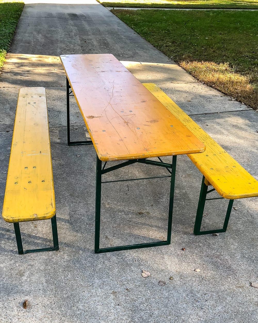 German beer garden table before