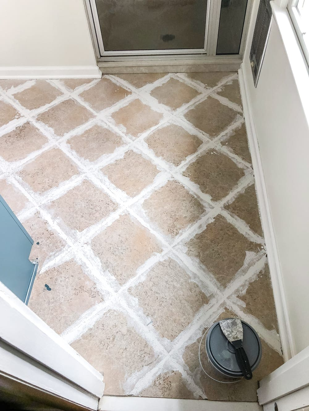 How to install sheet vinyl flooring over old tile | fill grout lines