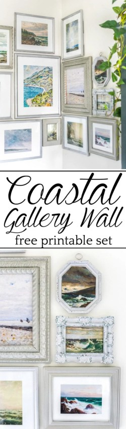A free printable set of a coastal gallery wall featuring antique ocean paintings and how to frame them inexpensively with thrifted finds. #coastaldecor
