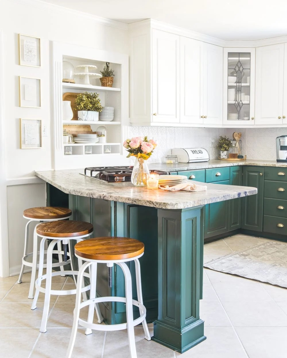 How to Choose Paint Colors for Your Home Perfectly Every Single Time | Sherwin Williams Billiard Green Kitchen Cabinets Two-Tone