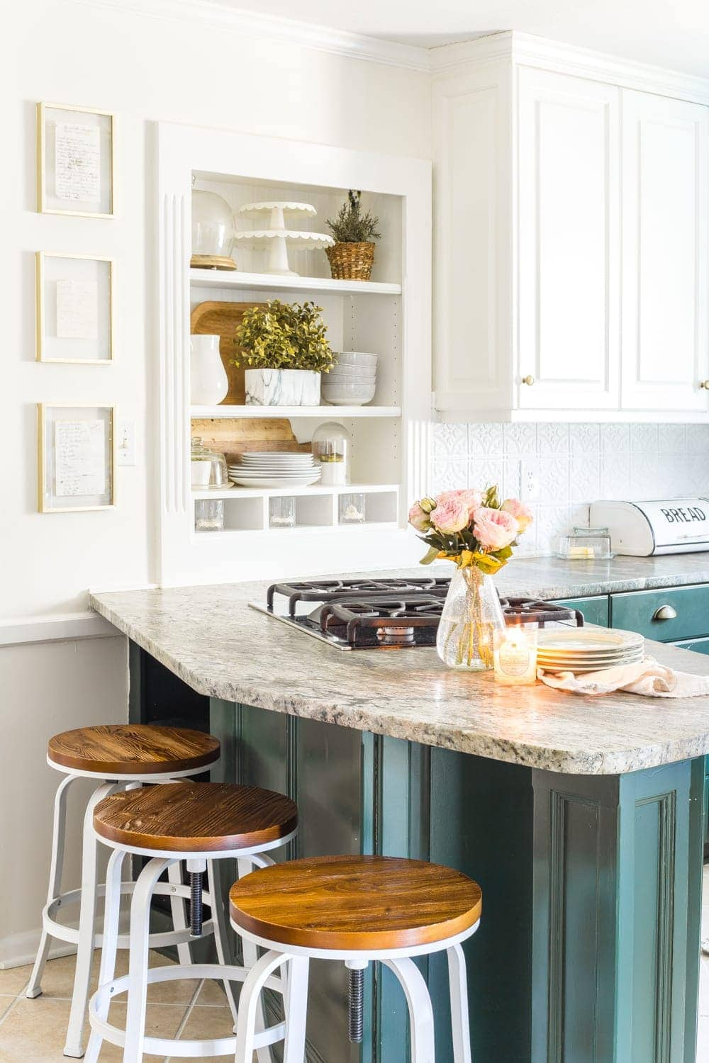 Simple Spring Home Tour | Kitchen decorated with a few small spring touches