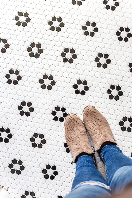 Girls' Bathroom Decor Details & Sources | Retro flower floor tile