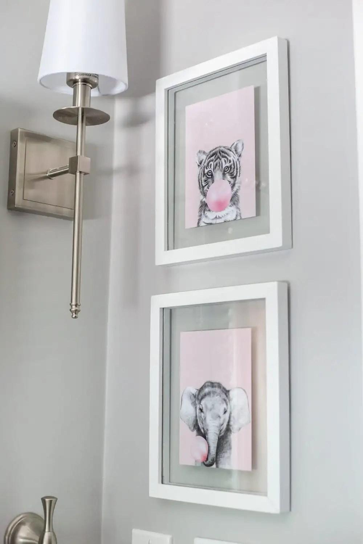 Girls' Bathroom Decor Details & Sources | tiger and elephant blowing bubbles art