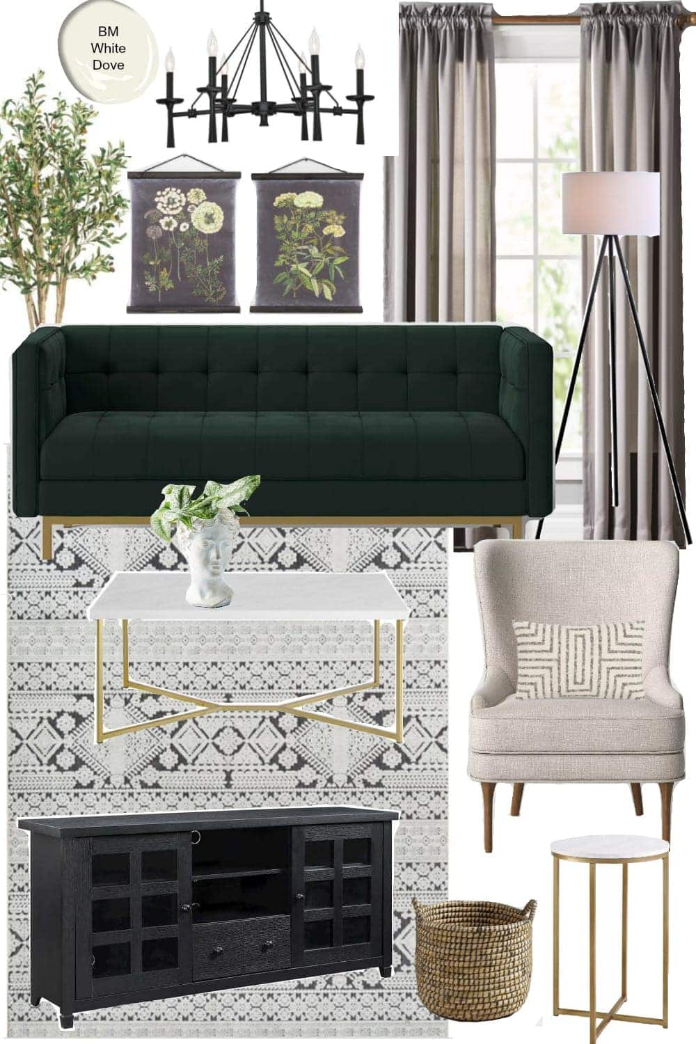 3 Living Room Design Mood Boards Under $2,000 | Vintage Glam