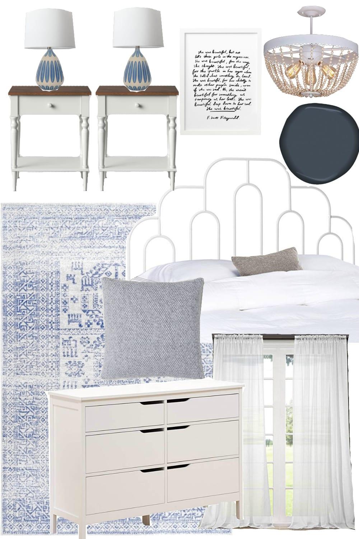 Boho Cottage Bedroom Design Mood Board