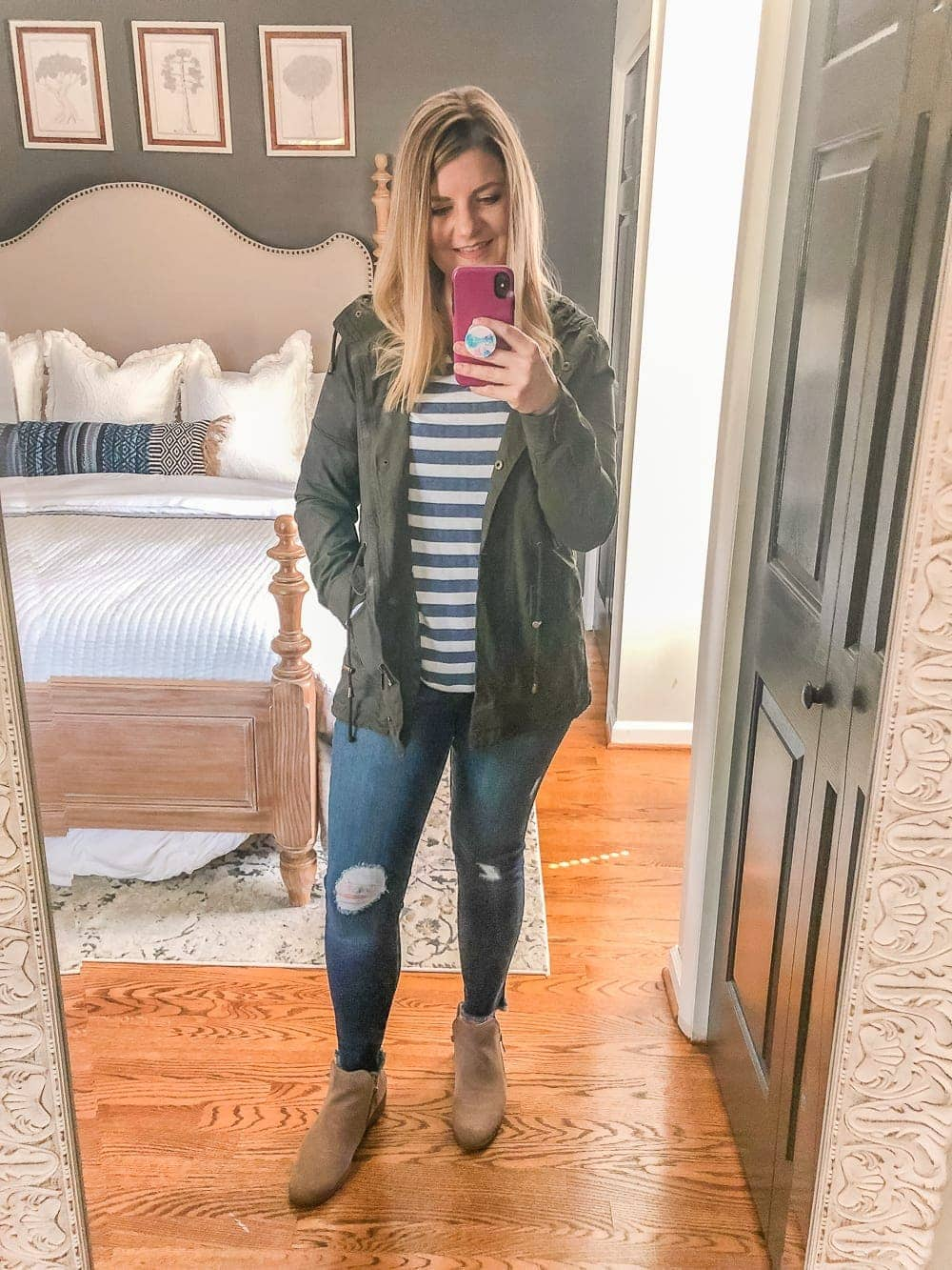 7 Inexpensive Tummy Hiding Mom Friendly Fall Outfits - pullover, distressed jeans, utility jacket, booties