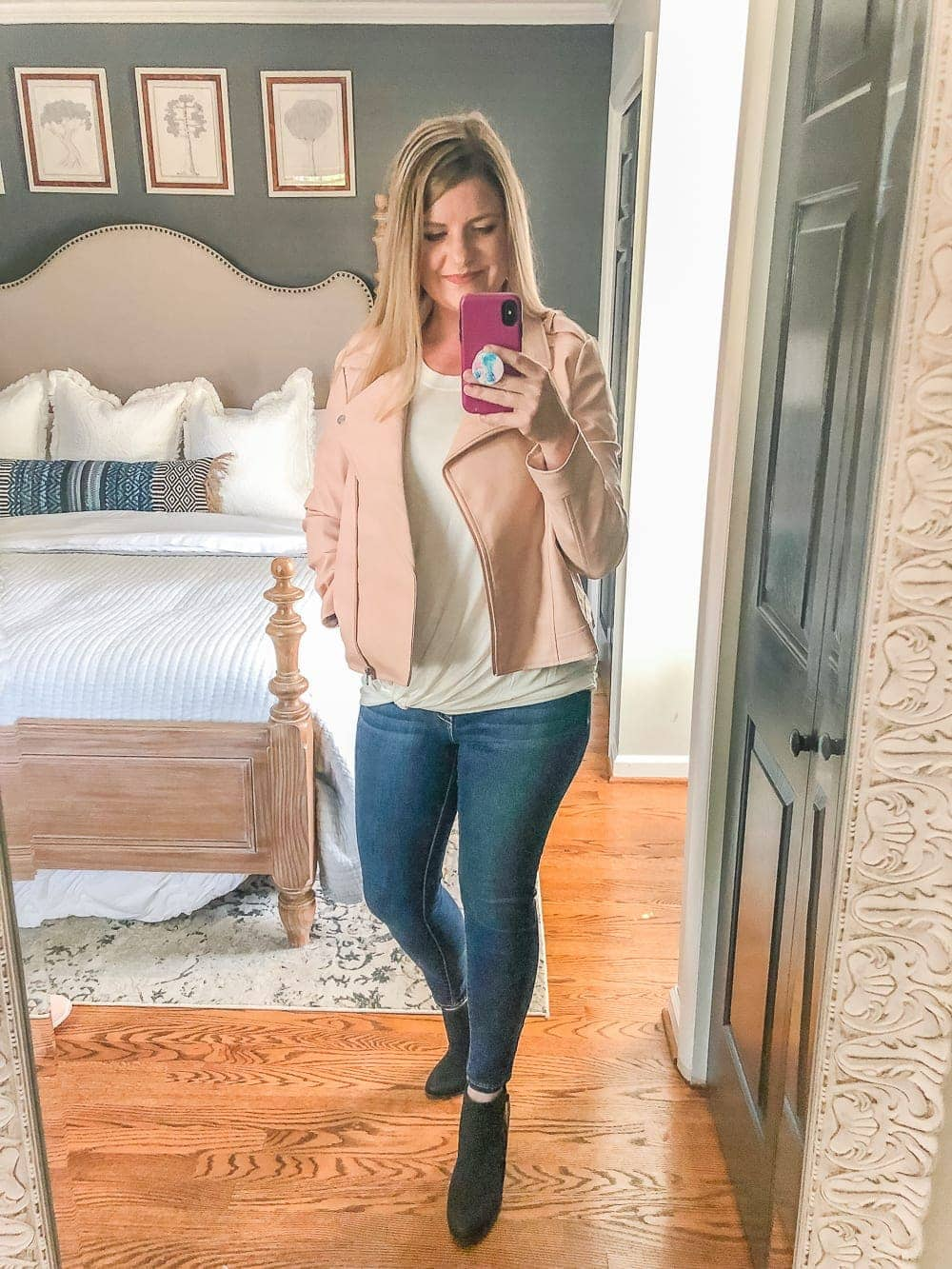 7 Inexpensive Tummy Hiding Mom Friendly Fall Outfits | blush moto jacket, jeans, tie waist tee, booties