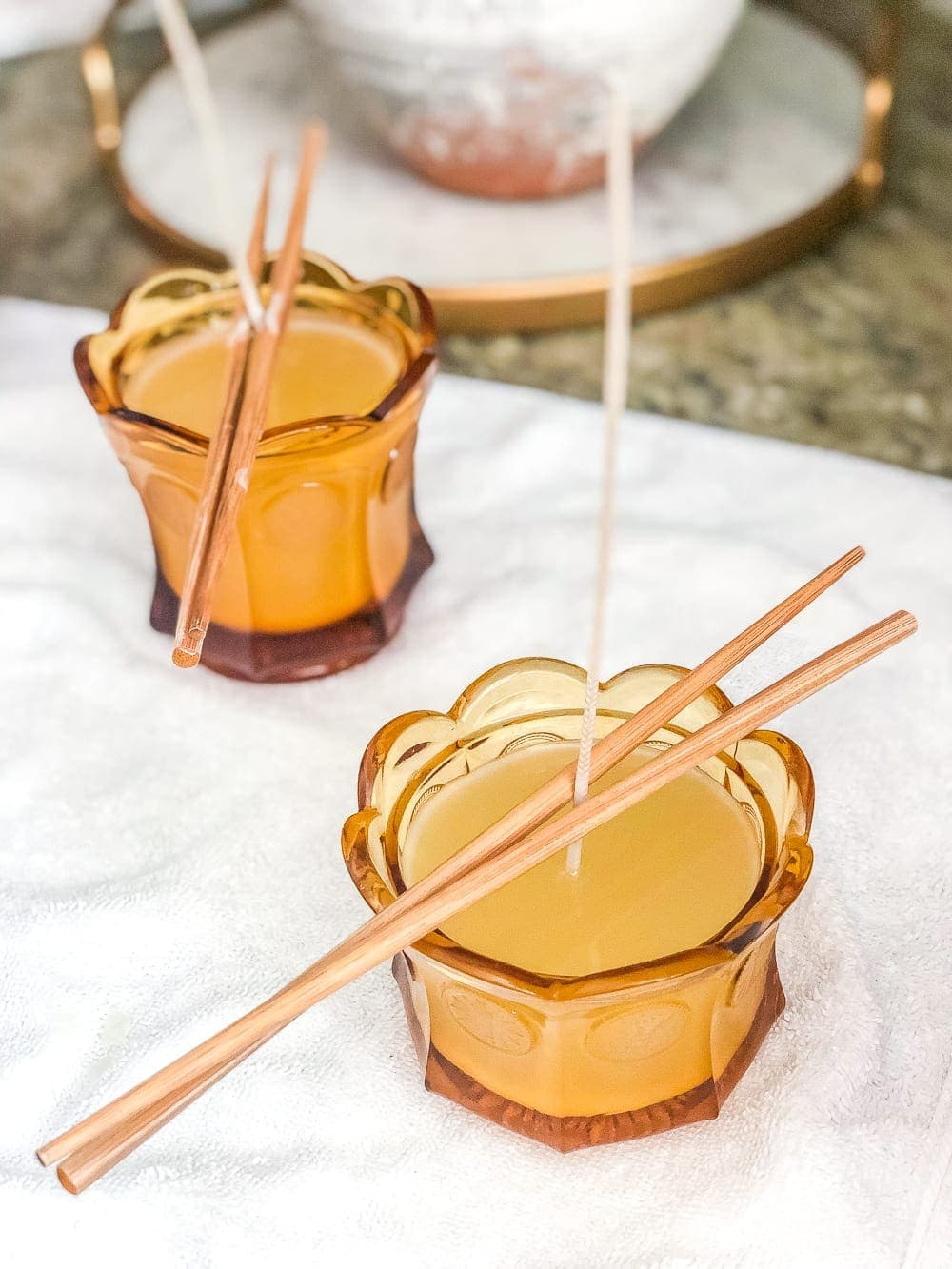 A basic, beginner's step-by-step tutorial for making soy wax candles from repurposed secondhand candy dishes, tea cups, bowls, and jars.
