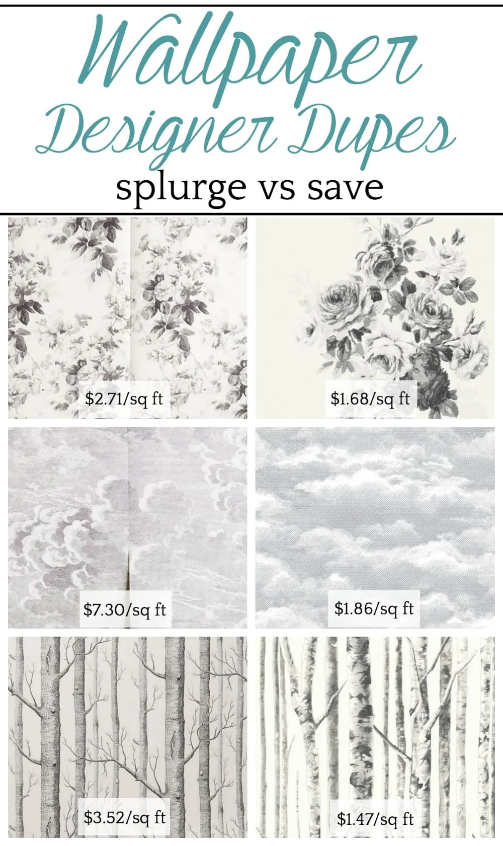 Wallpaper Designer Dupes: Splurge vs. Save | A round-up shopping guide with 14 of the most popular designer wallpapers and their cheaper dupes to get the look for less.