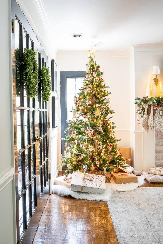 Christmas decor ideas | Swedish Christmas tree and French doors