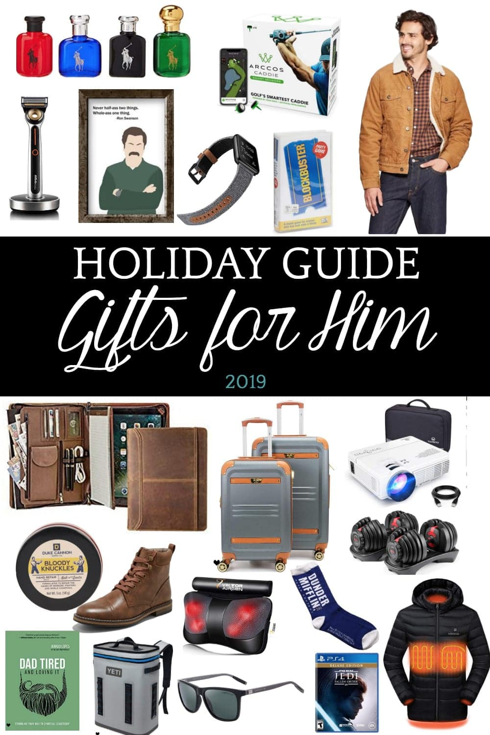 50 of the best gifts for him for 2019 with researched top-rated favorites for the gamer, handyman, outdoorsman, golfer, techy, dad, businessman, and foodie. #giftguide #christmasgiftguide #holidaygiftguide #giftsforhim #giftideasforhim #giftsformen #giftideasformen