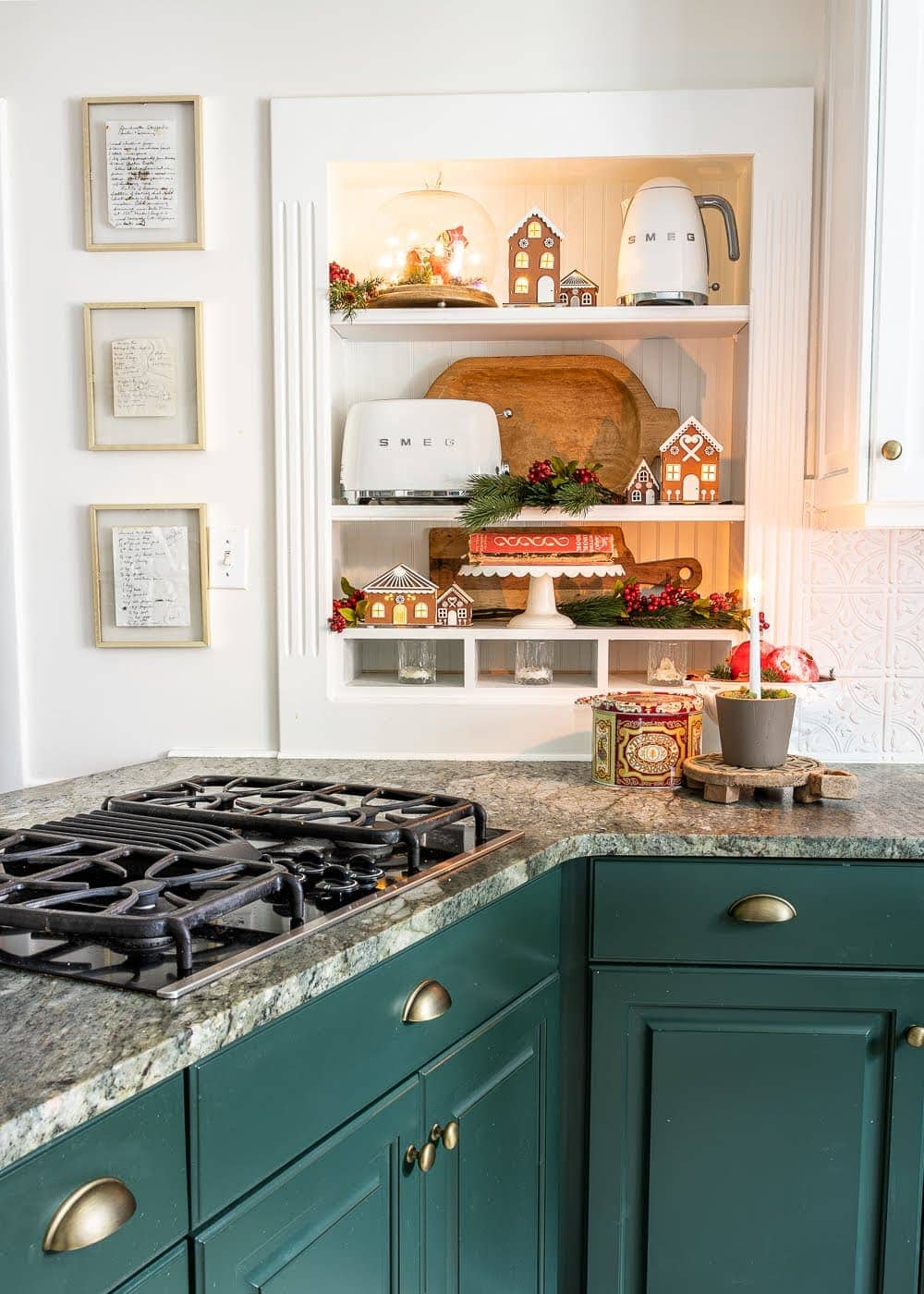 Christmas decor ideas | Christmas kitchen shelves and framed handwritten recipes from past generations