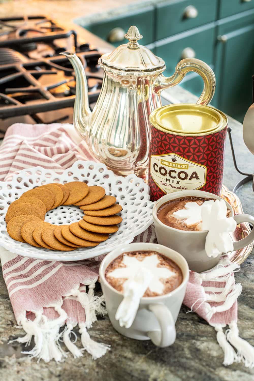 Christmas kitchen hot cocoa vignette