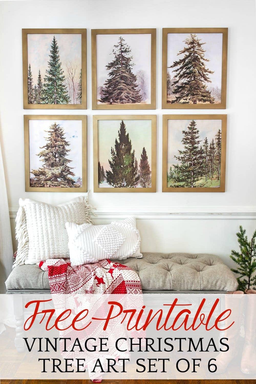 Vintage Christmas Tree Gallery Wall Printable Set Bless Er