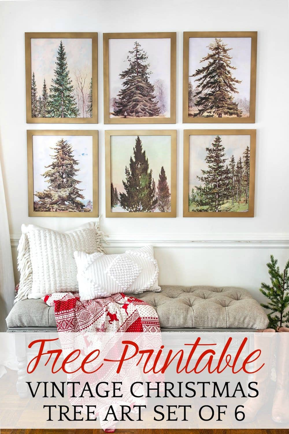 Poster Wall Art Home Decor Details about  /Vintage Christmas Trees Art Print // Canvas Print