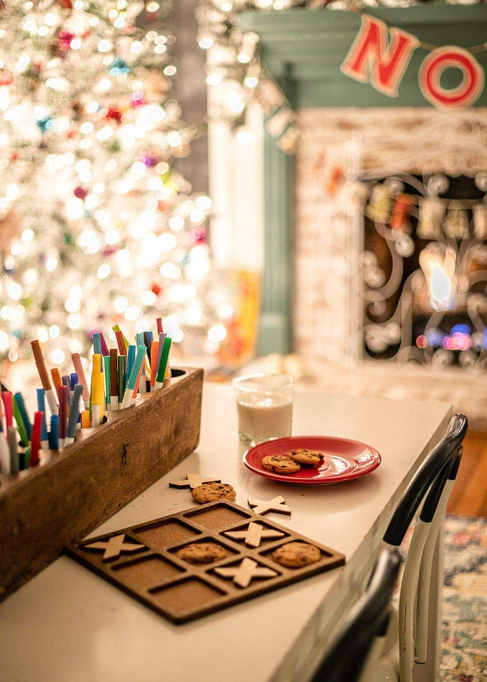 Christmas night milk and cookies tic tac toe