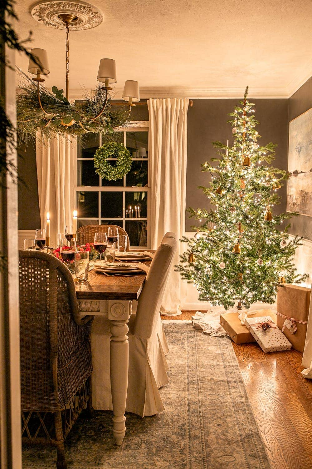 Christmas dining room at night