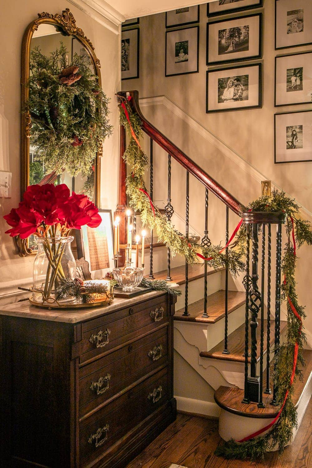 Christmas foyer and staircase at night
