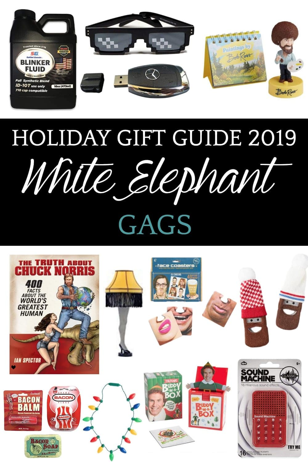 White Elephant Gag Gift Ideas | 40 white elephant gift ideas that are hilarious, useful, or for kids to make your next Christmas party a hit. #whiteelephantgifts