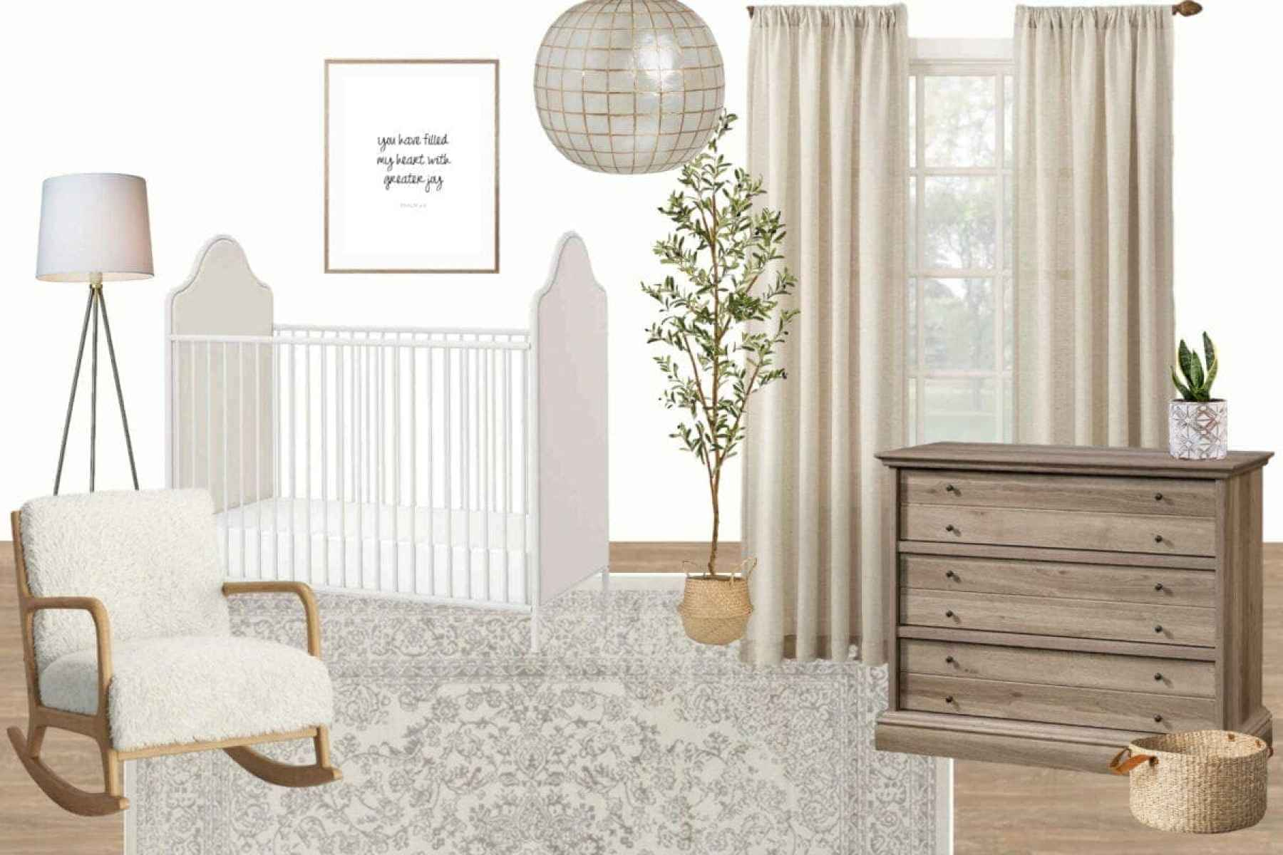 Gender Neutral Nursery - 4 gender neutral nursery ideas for a smaller budget and how to create your own mood boards to plan any room design.