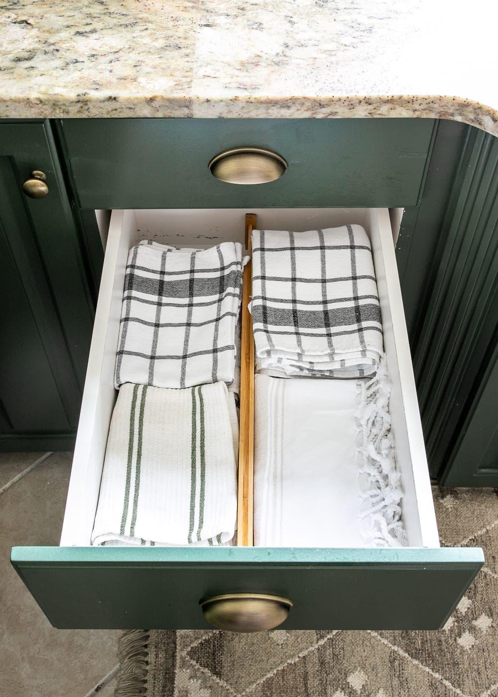 Kitchen Organization Makeover | Dish Towel Organization
