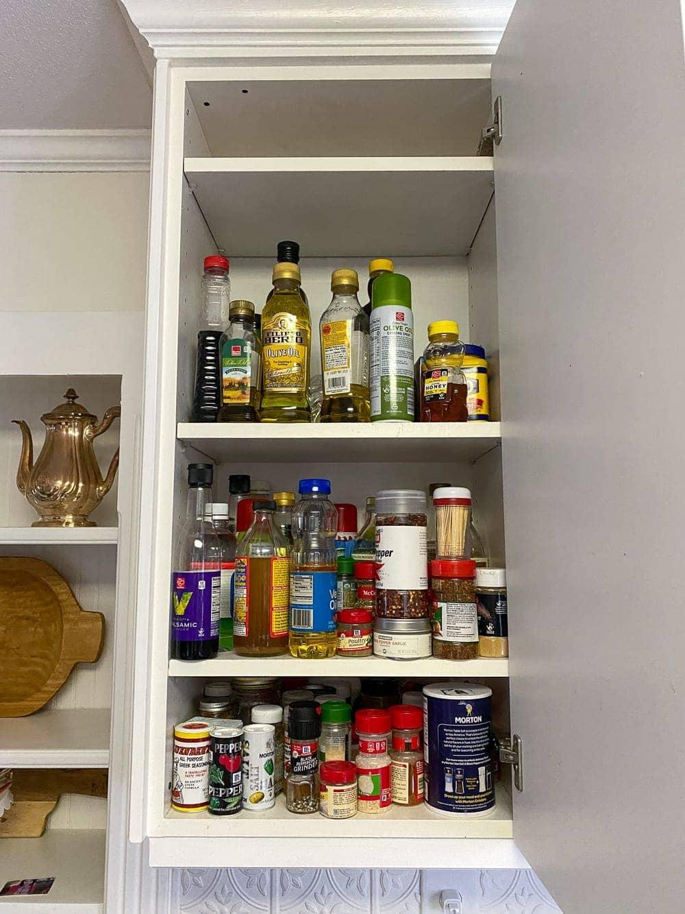 Kitchen Organization Makeover | Spice Cabinet Before