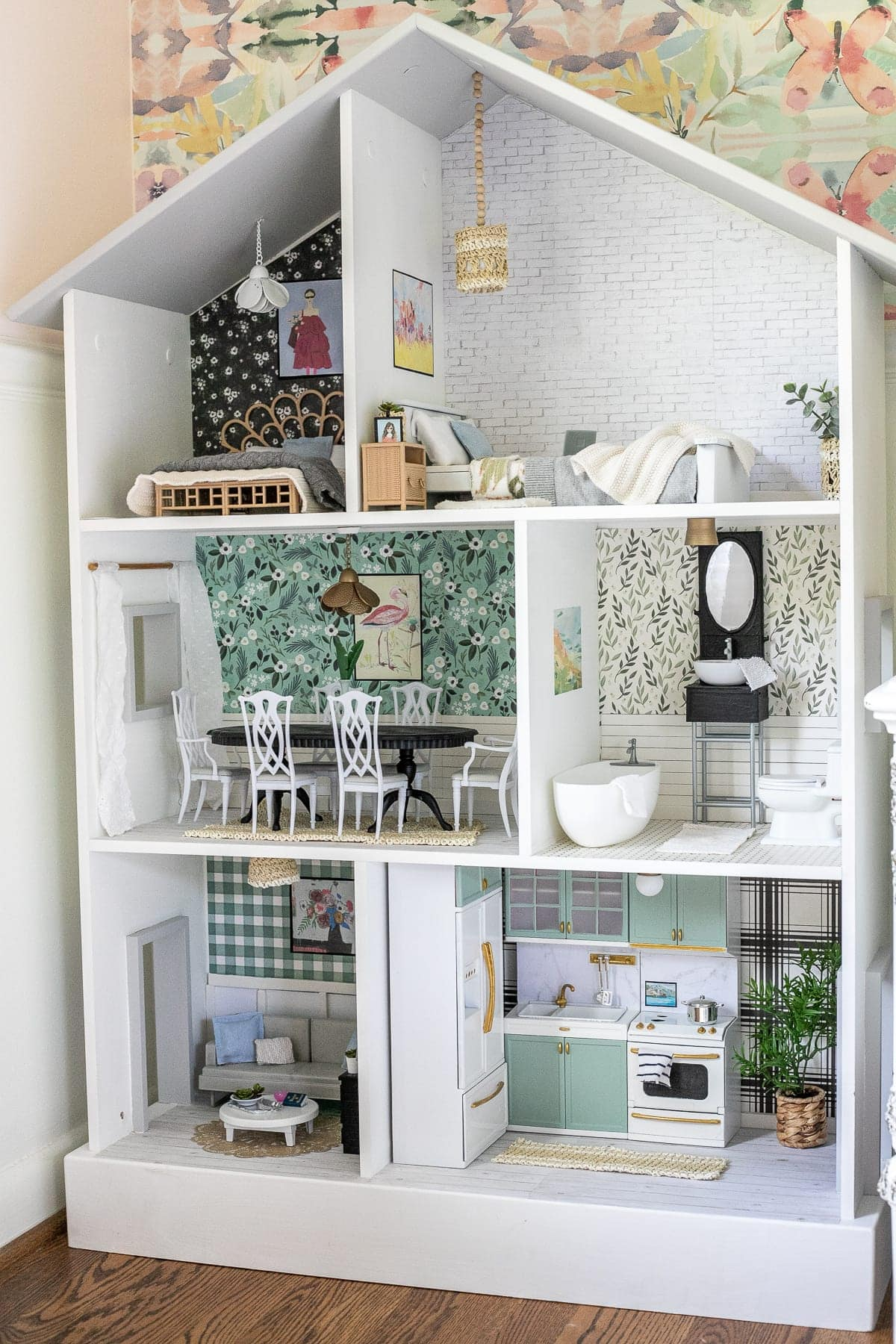 Thrifted Dollhouse Makeover | Tips and tricks for using what you already have and repurposing every day items from around the house to create a beautiful, real-looking dollhouse.