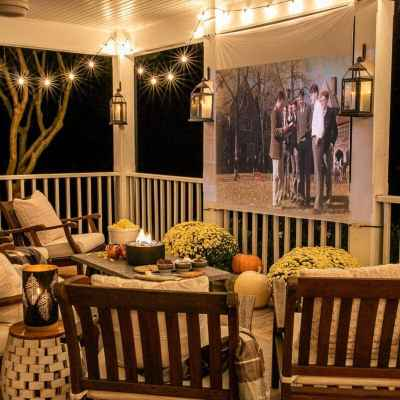 Fall Porch DIY Outdoor Movie Screen and DIY S'mores Table