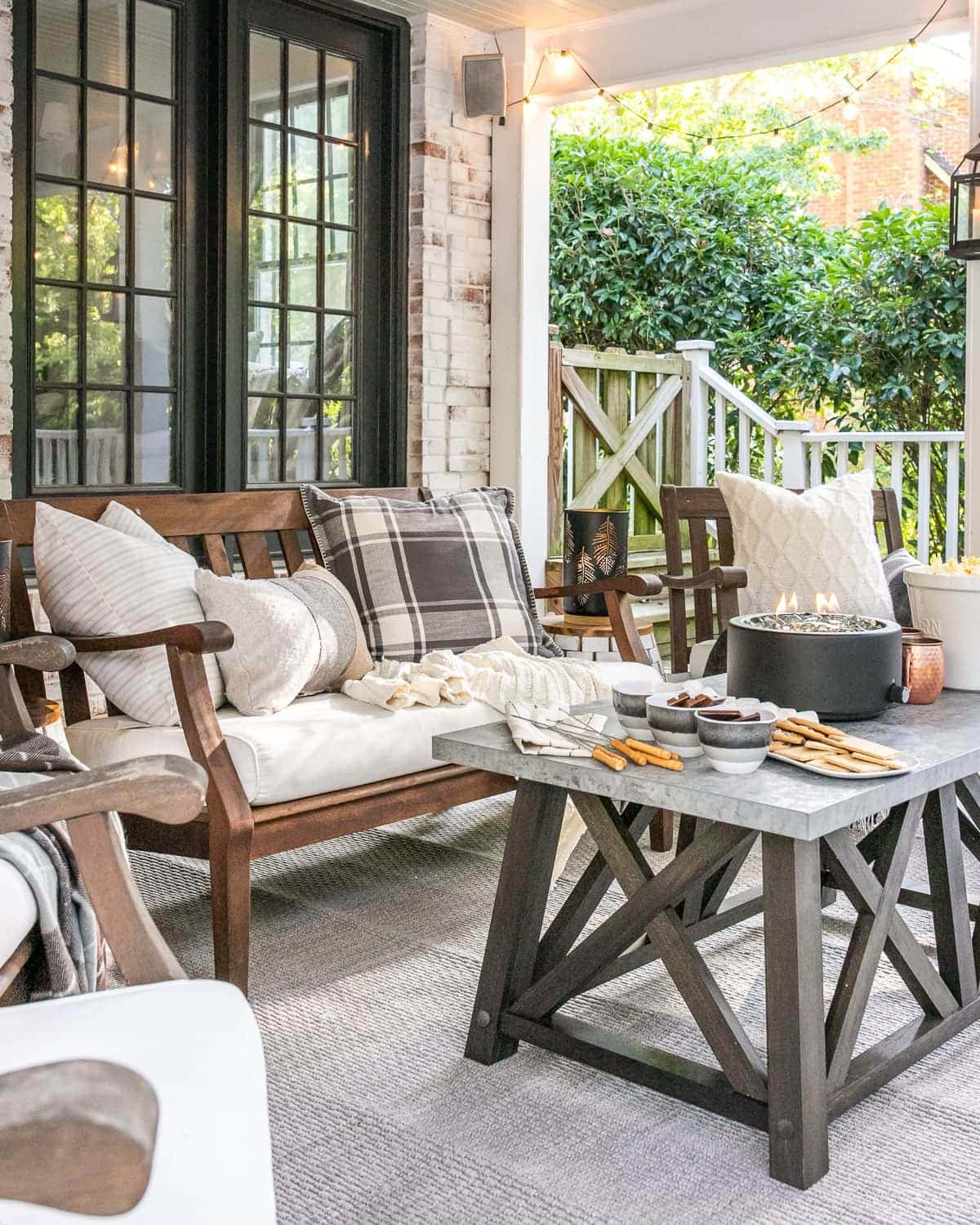fall outdoor decor and back porch