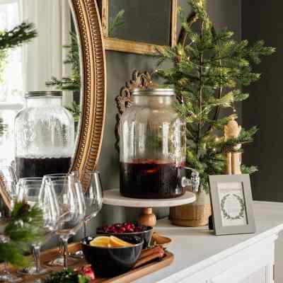 Modern Traditional Christmas Dining Room & Sangria Recipe Printable