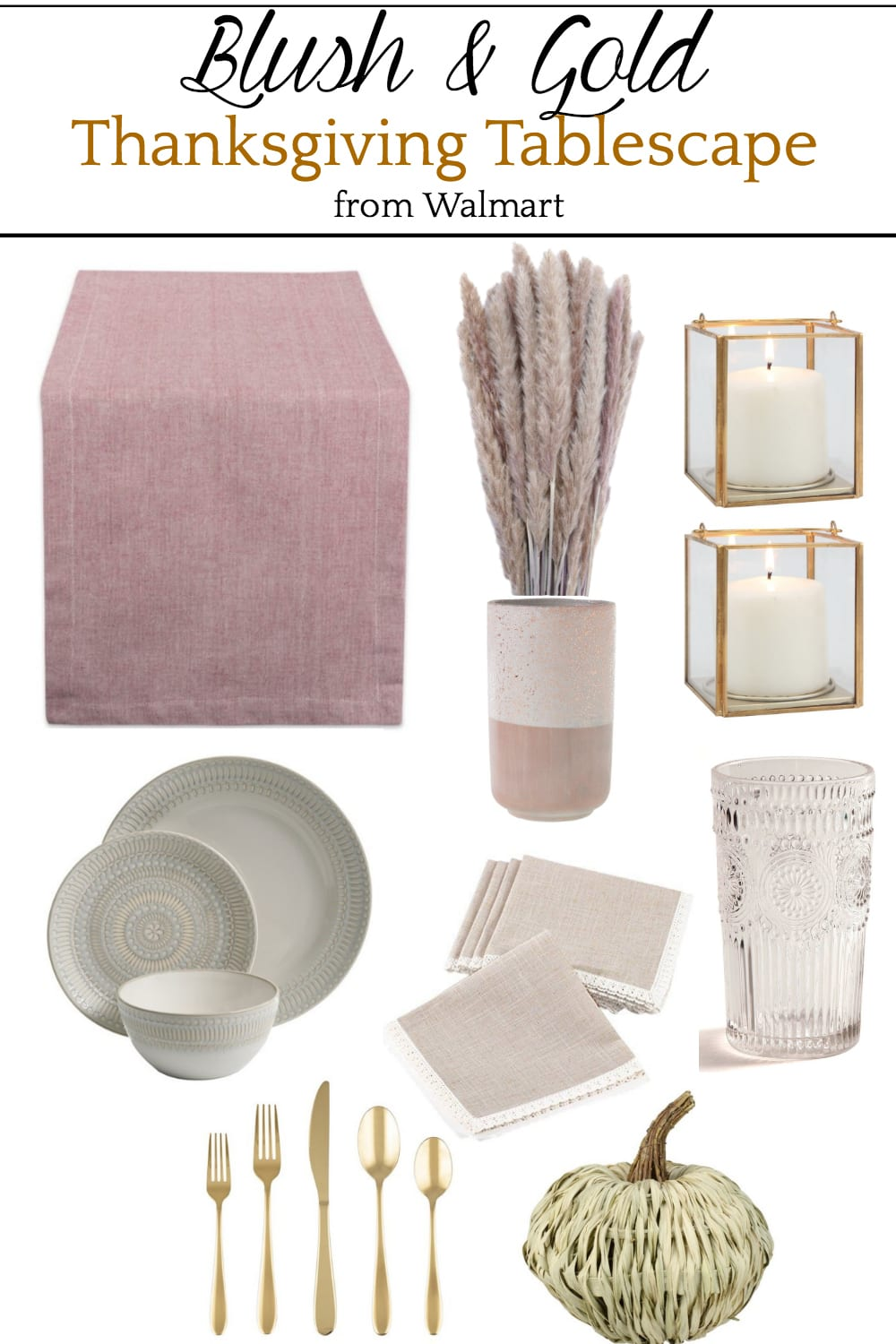 Blush and Gold Thanksgiving Tablescape Mood Board