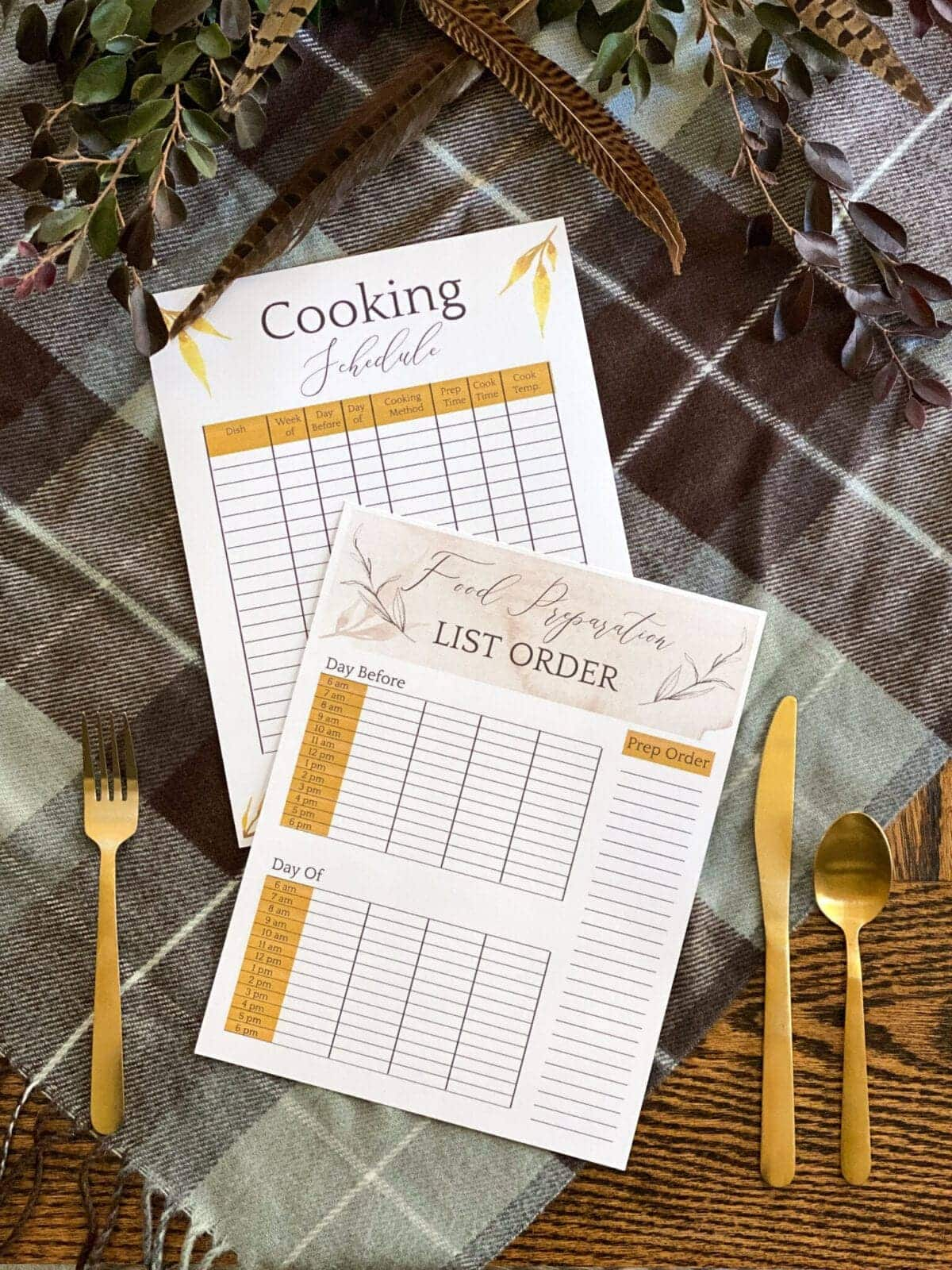 Thanksgiving cooking schedule free printable