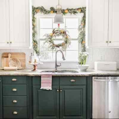 Christmas Kitchen Decor + Snow Cabin Art Printable