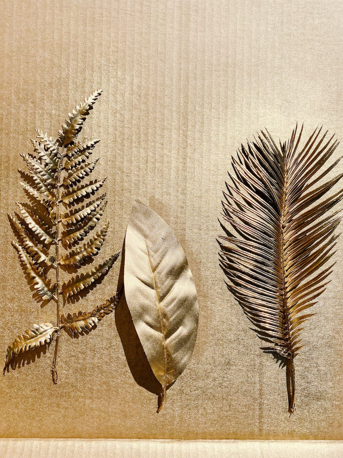 gold spray painted leaves