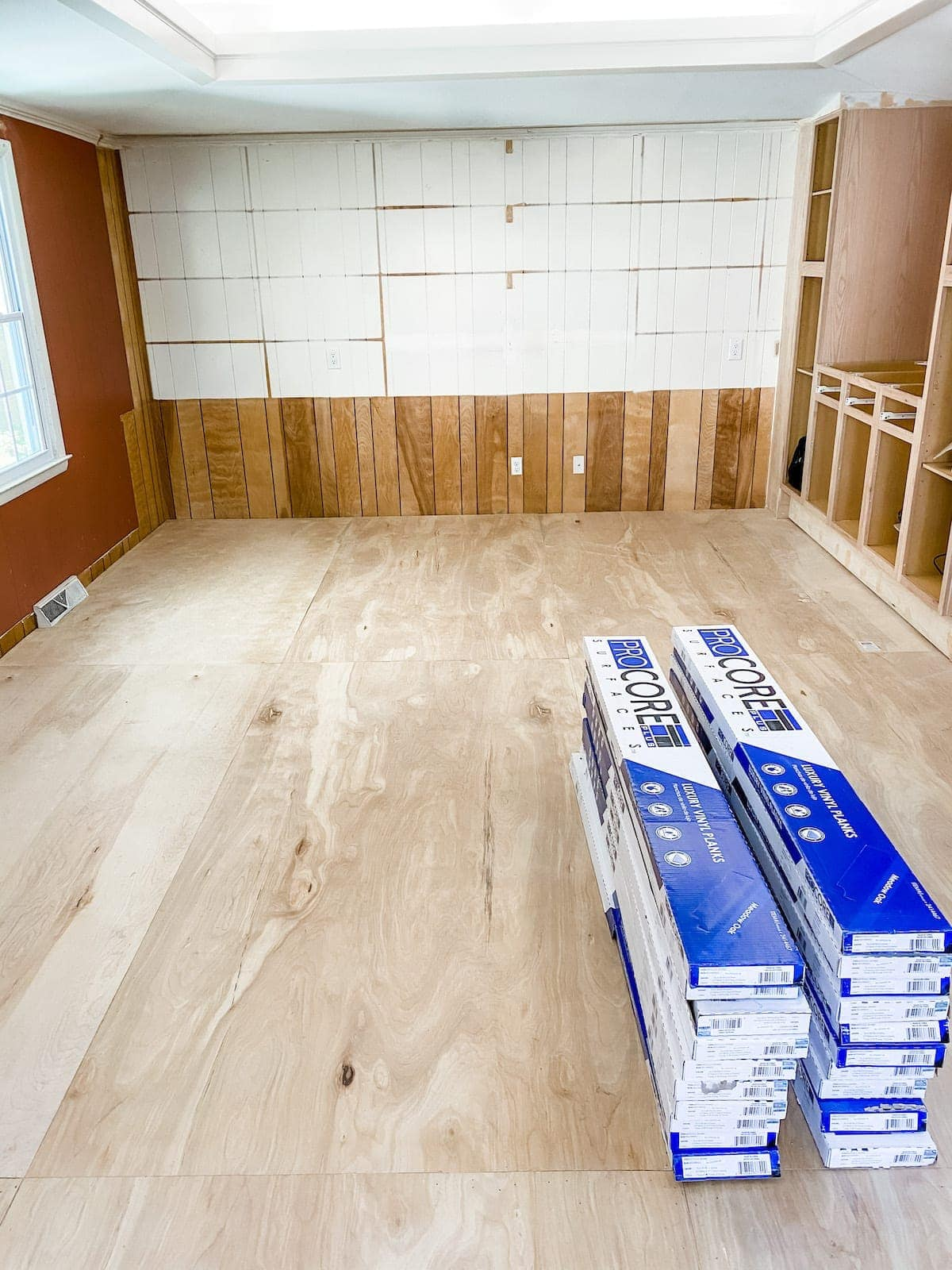 LVP flooring acclimating in a room