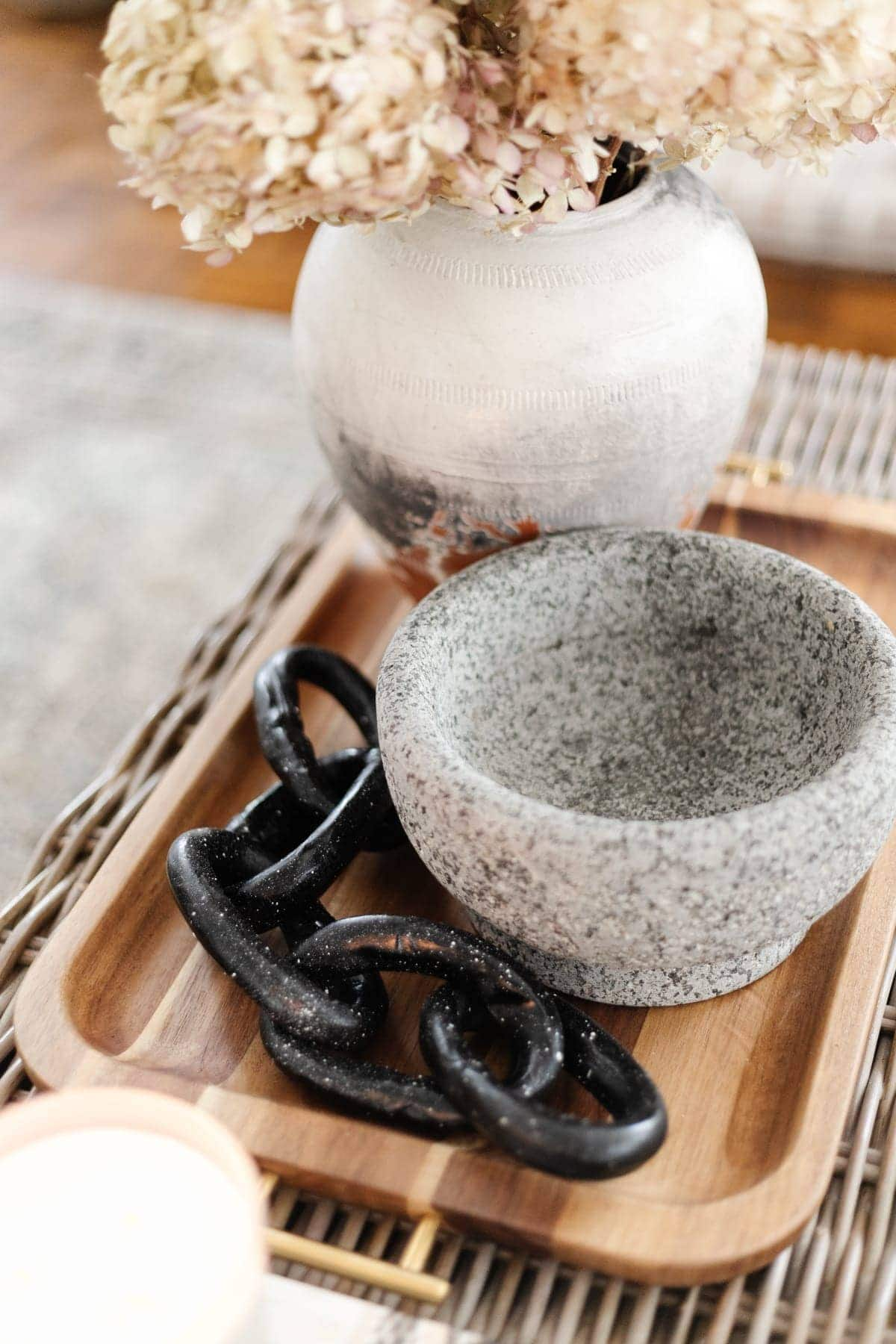 decorative chain made from air dry clay as coffee table decor