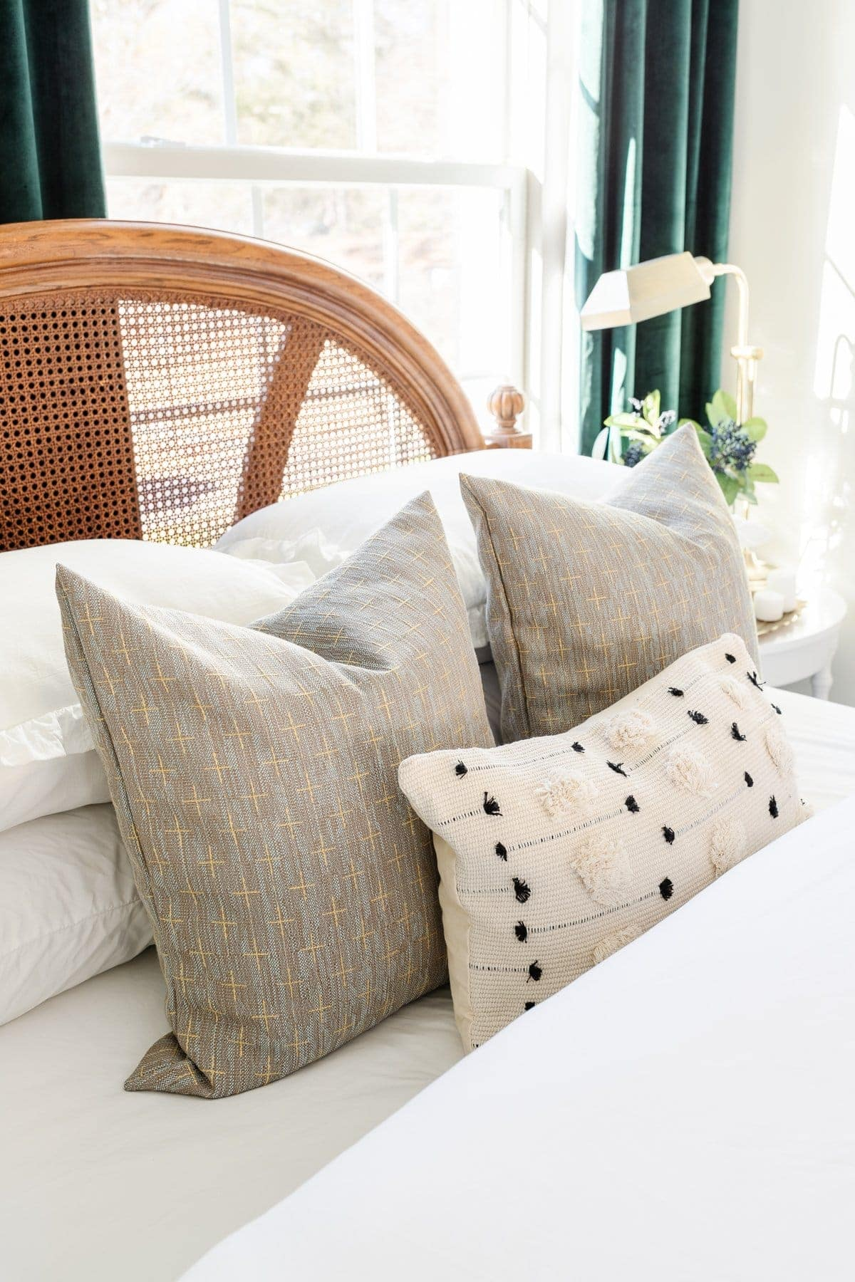 throw pillows on a guest bed