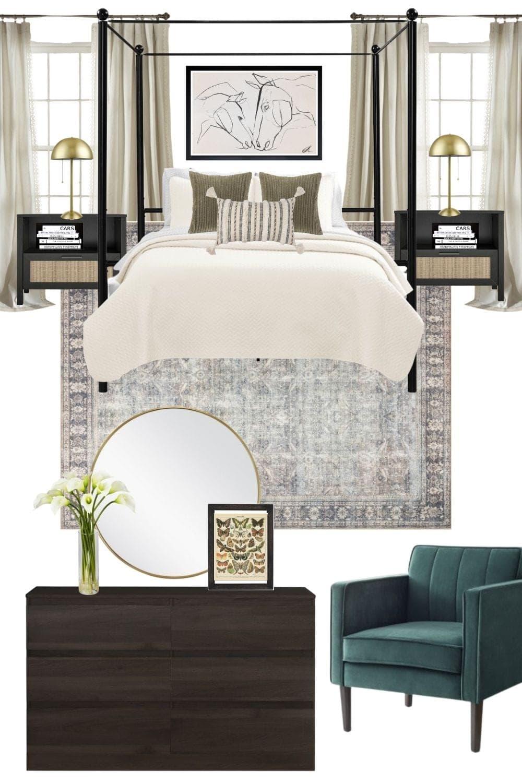 earthy vintage bedroom mood board design
